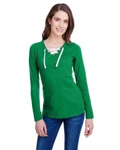 Ladies' Long Sleeve Fine Jersey Lace-Up T-Shirt